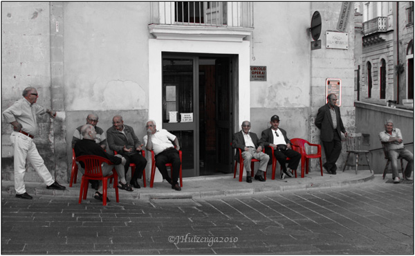 SIcilian Men Sitting Outside a Circolo