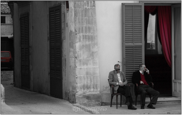 Sicilian men sitting outside in Ragusa Ibla