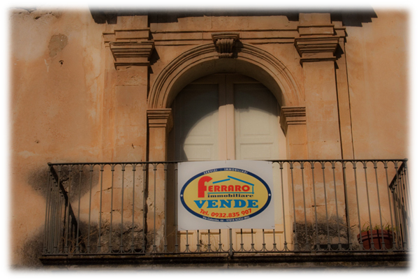 For Sale Sign on Old Sicilian House, copyright Jann Huizenga