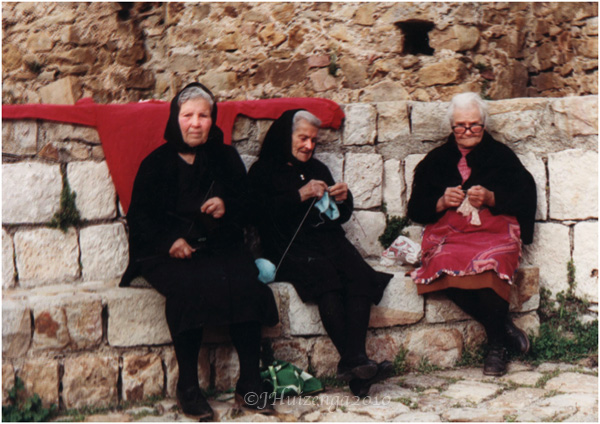 Trio of Sicilian Women Knitting