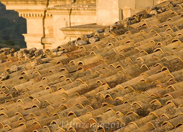 Antique Terracotta Roof in Ragusa Ibla, Sicily, Copyright Jann Huizenga
