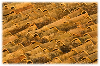 Old Terracotta Roof Tiles on a Sicilian House, copyright Jann Huizenga