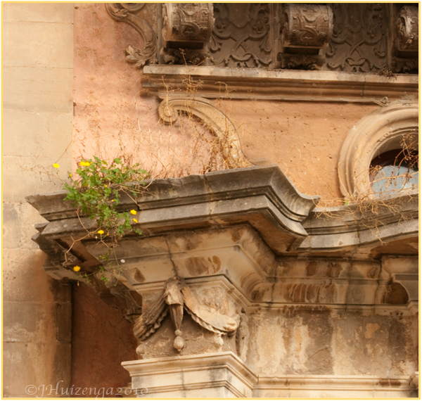 Flowers Grow on a Church in Sicily, copyright Jann Huizenga