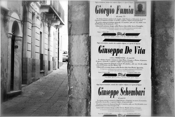Death Notice in Sicily, Copyright Jann Huizenga