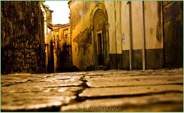 Old cobbles in Ragusa Ibla, Sicily, Copyright Jann Huizenga