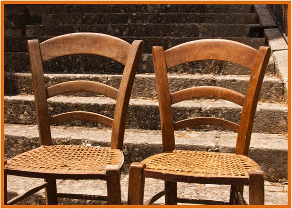 Sicilian Church Chairs with Twine Seats, copyright Jann Huizenga