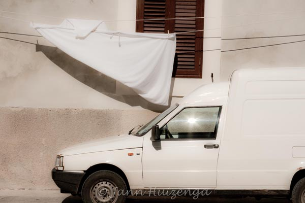 White Truck with White Laundry in Sicily, copyright Jann Huizenga