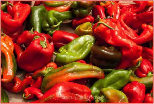 Market Red Peppers in Sicily, copyright Jann Huizenga