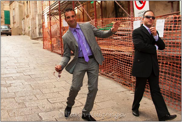 Two Sicilian Men in Suits, copyright Jann Huizenga