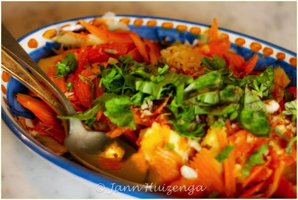 Carrot and Provolone Salad, copyright Jann Huizenga