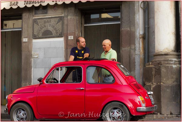 1969 Red Fiat 500 in Vizzini, Sicily, copyright Jann Huizenga