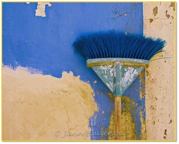 Broom on Italian Wall, copyright Jann Huizenga
