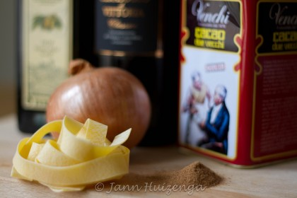 Some of the ingredients for sciabbo, Sicilian Christmas noodles, copyright Jann Huizenga