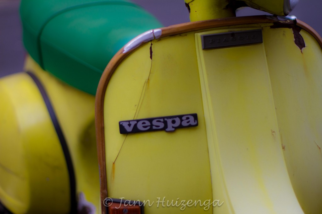 Old Yellow Vespa in Sicily, copyright Jann Huizenga