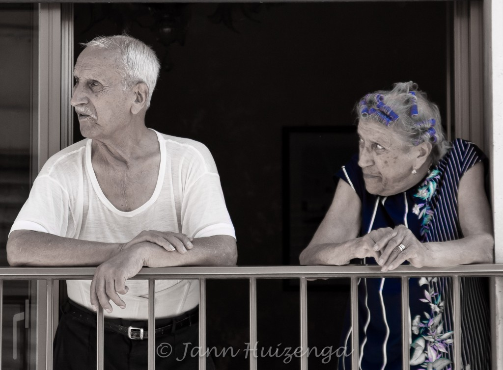 Sicilian Married Couple at Window, copyright Jann Huizenga