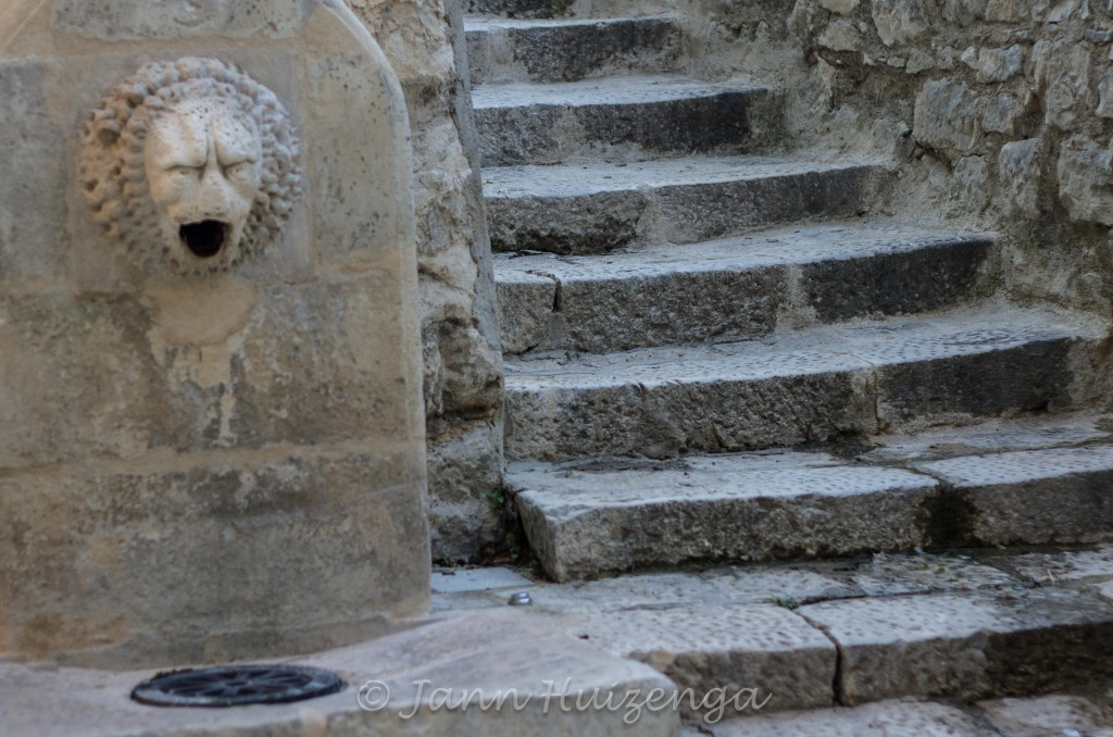 Stone Fountain and Steps in Ragusa Ibla, Sicily, copyright Jann Huizenga