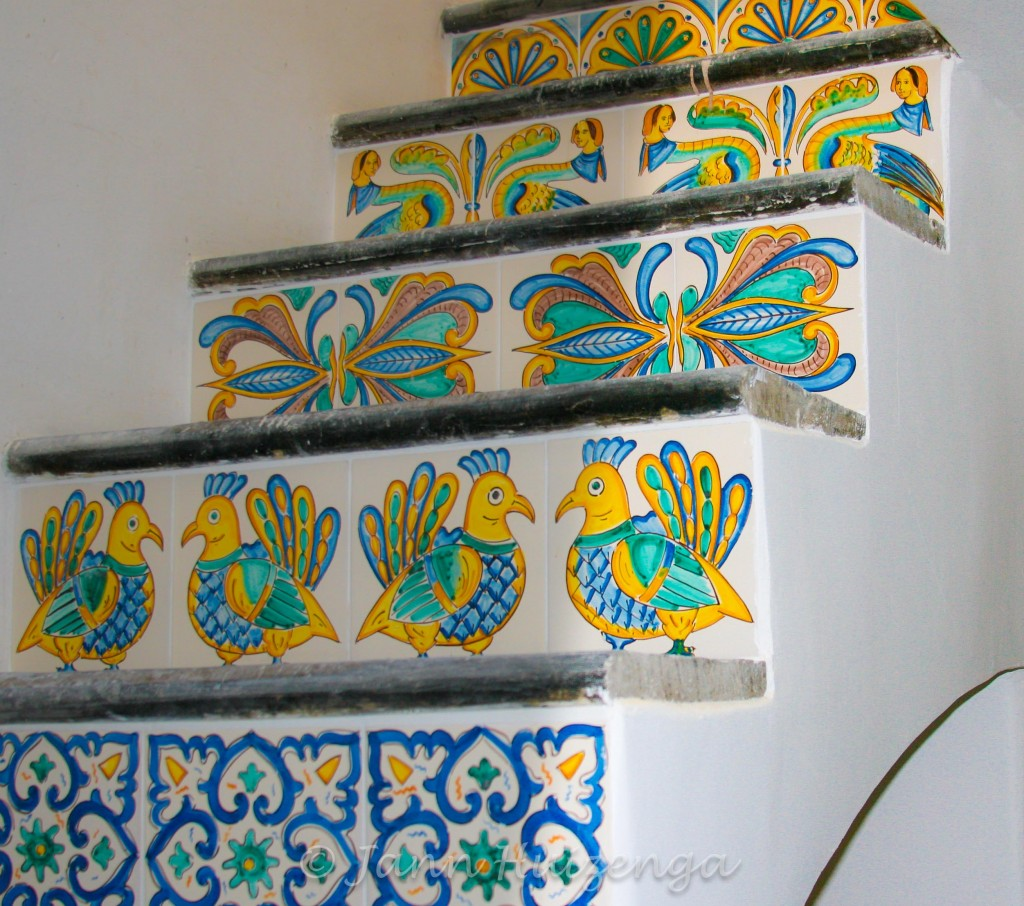 Sicilian Staircase using tiles from Caltagirone, copyright Jann Huizenga