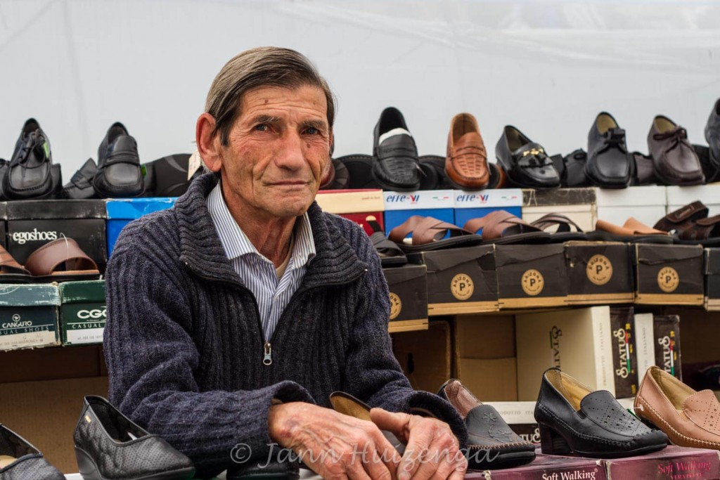 Shoe Salesman in Sicily, copyright Jann Huizenga