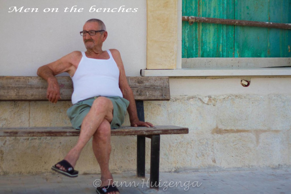 Man on bench in Southeast Sicily, copyright Jann Huizenga