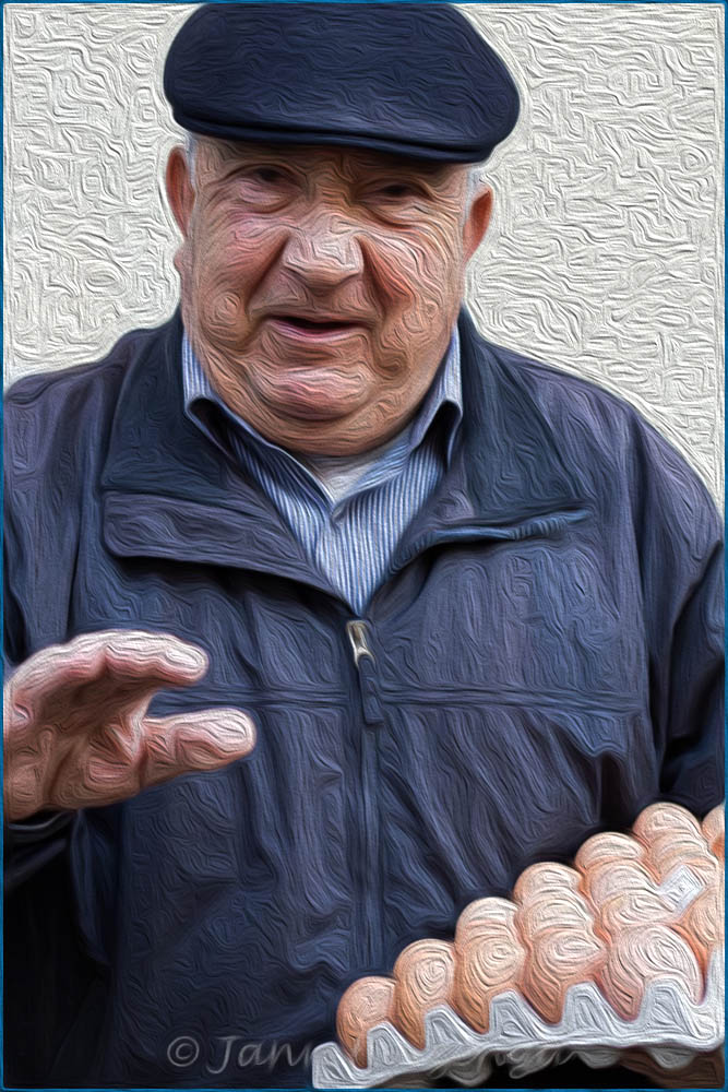 Sicilian Man with Eggs, copyright Jann Huizenga