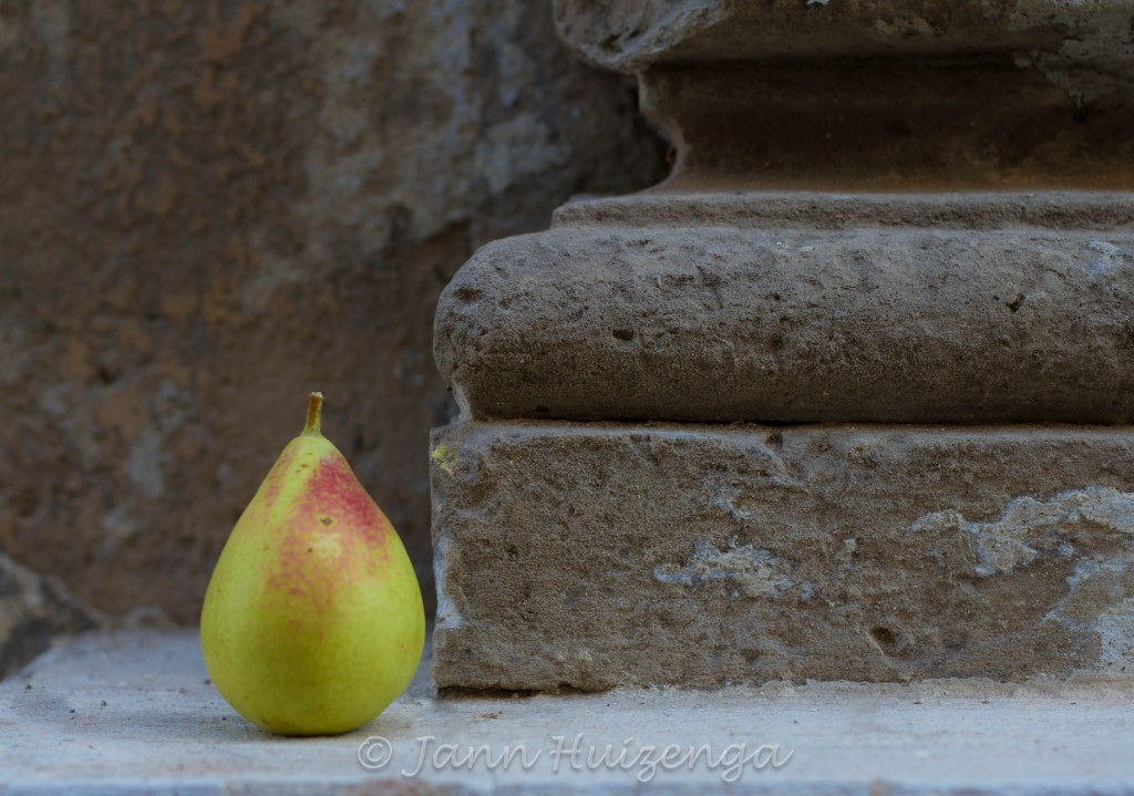 Pear on Sicilian Wall, copyright Jann Huizenga