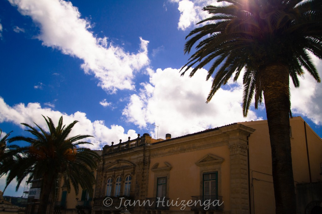 Palm trees in Ragusa Ibla, copyright Jann Huizenga