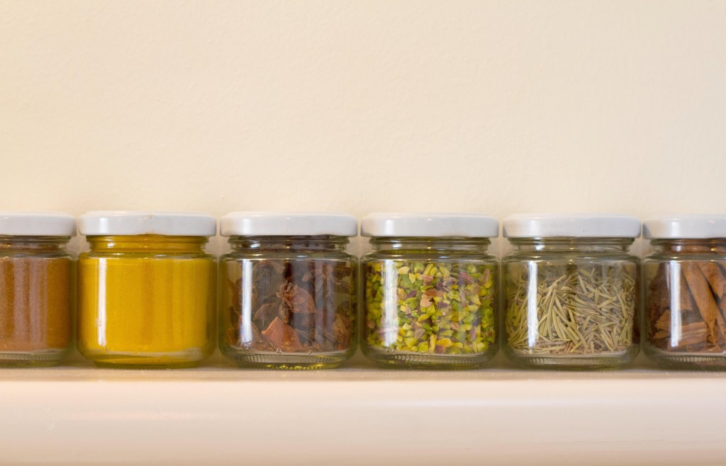 Spices in my Sicilian kitchen, copyright Jann Huizenga
