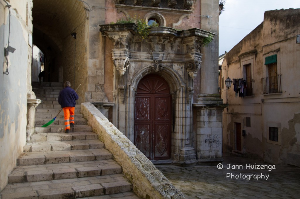 Street Sweeper in Southeast Sicily, copyright Jann Huizenga