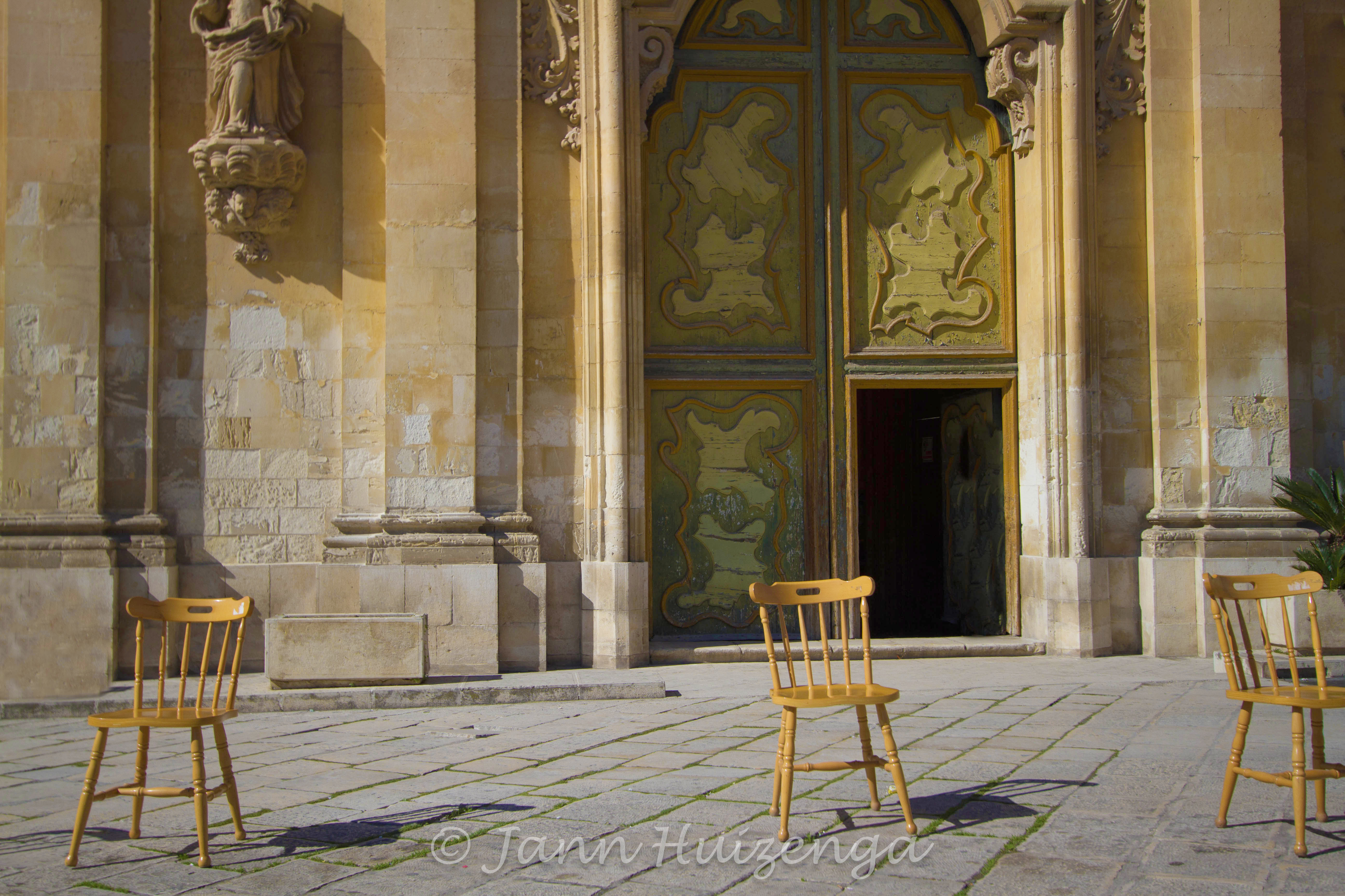 Empty Chairs In Southeast Sicily, Copyright Jann Huizenga