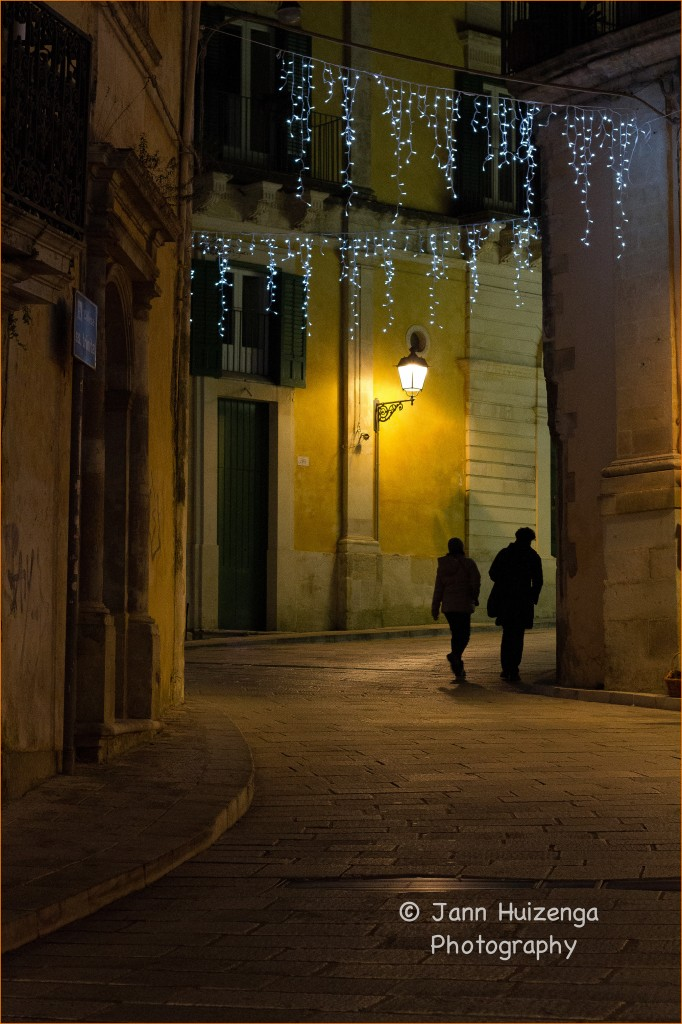 Quiet Christmastime Evening in Ibla, copyright Jann Huizenga